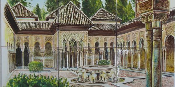 Cuadro de azulejos con vista del Patio de los Leones de La Alhambra