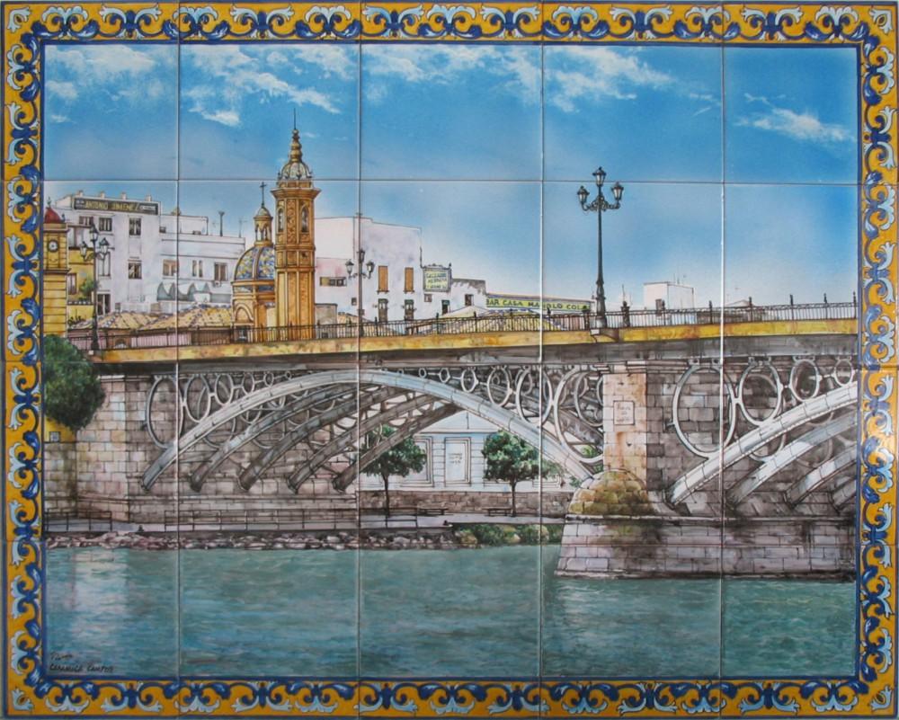 Cuadro de azulejos pintados a mano. Puente de Triana