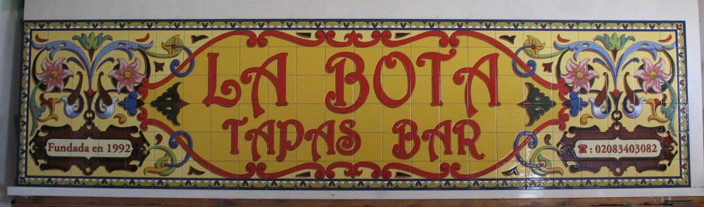 Rótulo La Bota Tapas Bar, Londres
