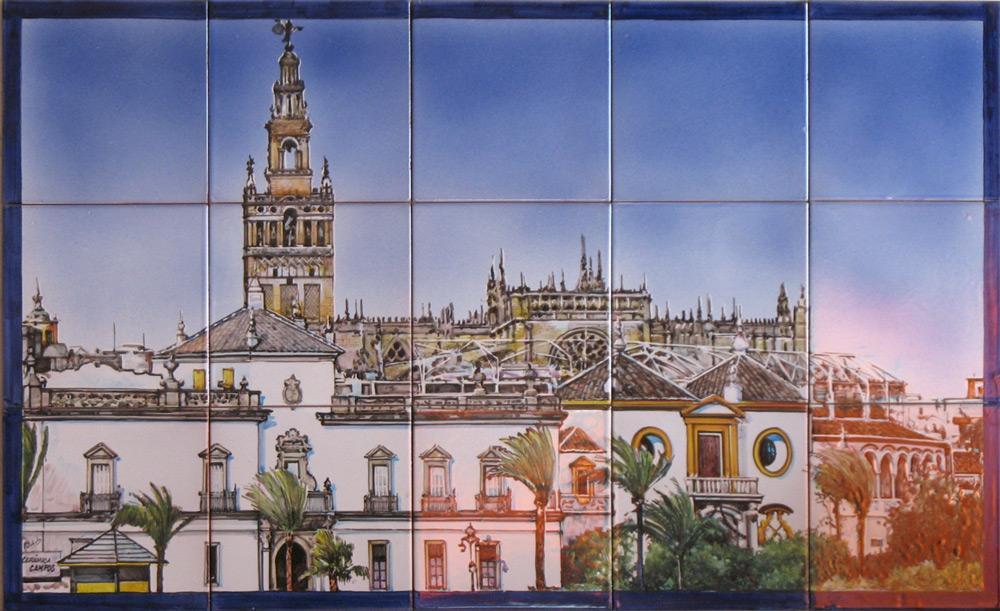 Cuadro de azulejos pintados a mano. Maestranza y Catedral, Sevilla