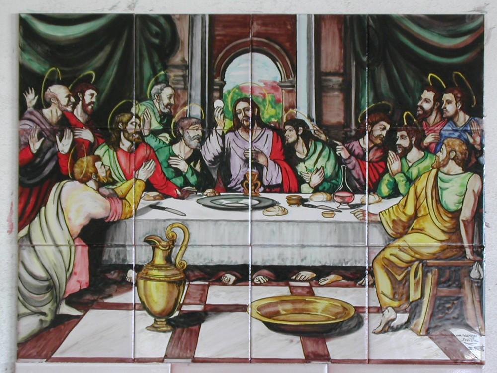 Cuadro de azulejos pintados a mano. Santa Cena