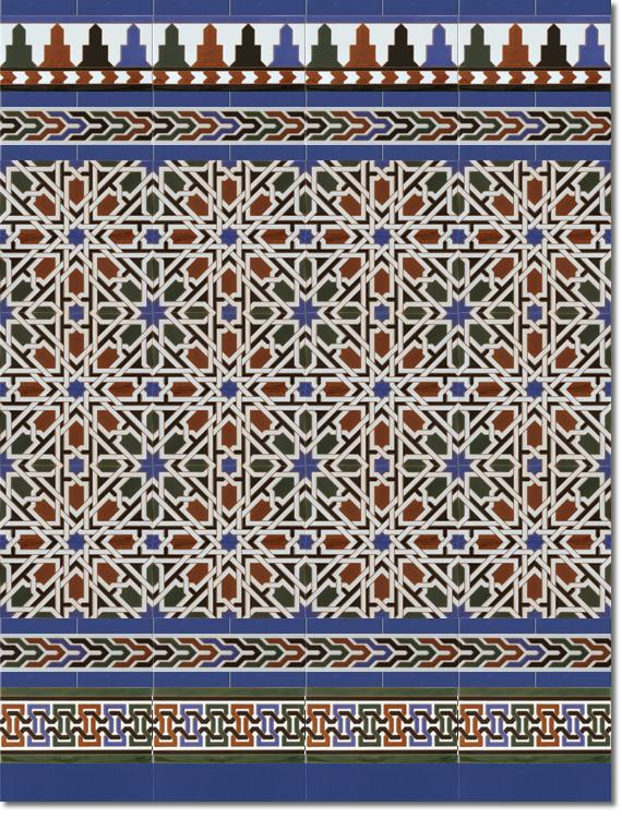 Zócalo estilo árabe modelo 530 azul
