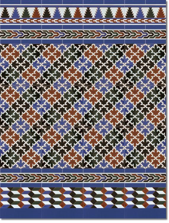 Zócalo estilo árabe modelo 580 azul