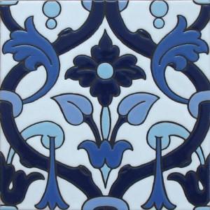 Azulejo mural azul/blanco